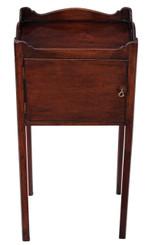 Antique Victorian mahogany tray top bedside cupboard table cabinet
