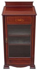 Antique Edwardian inlaid mahogany music cupboard display cabinet