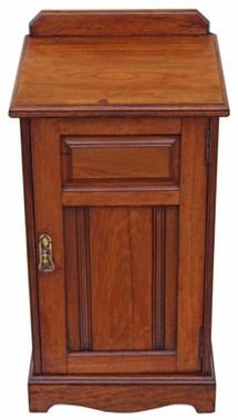 Antique Edwardian Victorian walnut bedside cupboard table cabinet
