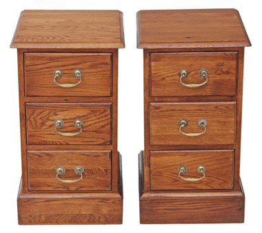 Antique quality pair of Georgian oak bedside tables cupboards reproduction
