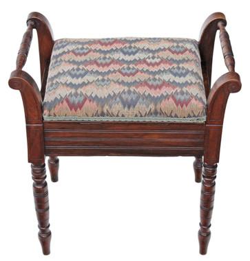 Antique mahogany Edwardian piano music stool dressing table