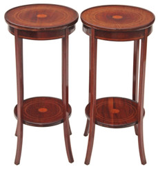 Antique pair of Edwardian inlaid mahogany plant stands jardiniere tables