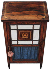 Antique Victorian 19C inlaid rosewood music display cabinet