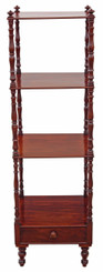 Antique Victorian 19C mahogany open bookcase whatnot shelves display