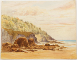 Antique British 19th Century Victorian watercolour landscape seascape painting FREE DELIVERY