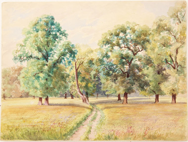 Antique original British 19th C Victorian watercolour landscape painting Windsor FREE DELIVERY