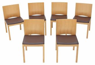 Quality set of 6 modern designer dark brown leather light oak dining chairs