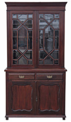 Antique large Victorian mahogany glazed bookcase display cabinet