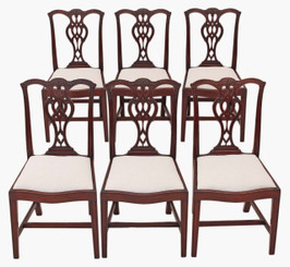 Antique quality set of 6 Georgian Chippendale revival mahogany dining chairs