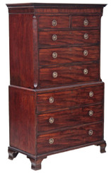 Antique large Georgian mahogany tallboy chest on chest of drawers C1800