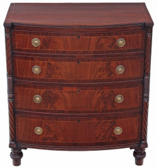 Antique Georgian Regency inlaid mahogany bow front chest of drawers