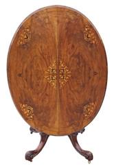 Antique Victorian inlaid burr walnut oval tilt top loo breakfast table