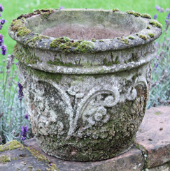 Antique large weathered patinated concrete plant pot urn