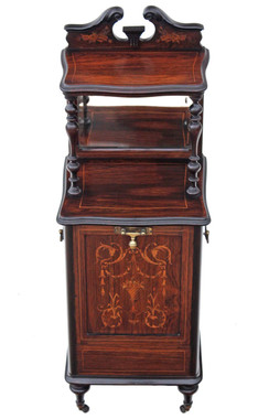 Antique quality Victorian rosewood perdonium bedside table cabinet coal box