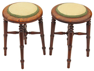 Antique rare pair Victorian beech upholstered stools seats chairs