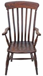 Antique Victorian ash elm beech Windsor armchair Grandad chair hall side