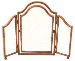 Antique Victorian 19C walnut dressing table triple tryptich mirror toilet