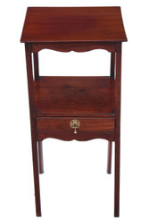Antique Georgian mahogany 19C bedside cupboard table cabinet washstand