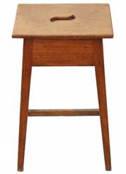 Antique rare quality Regency 19C elm & oak tall stool seat chair bar