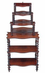 Antique Victorian 19C rosewood open bookcase whatnot shelves display