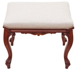 Antique rare quality Victorian carved mahogany stool seat foot