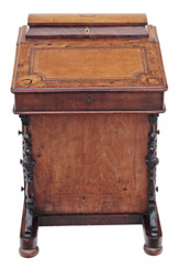 Antique Victorian inlaid burr walnut davenport writing table desk