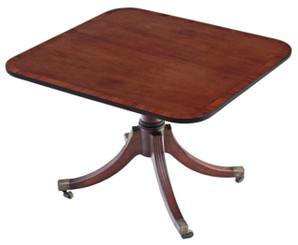 Antique Regency crossbanded mahogany loo breakfast table tilt top