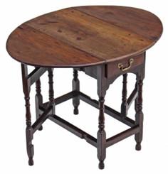 Antique small Georgian 18C oak gateleg table side occasional dining