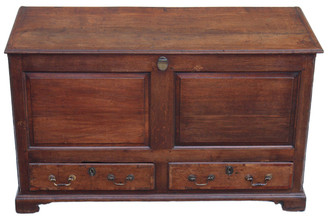 Antique Georgian 18C oak mule chest coffer blanket box
