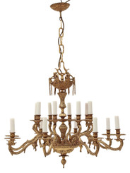 Antique 16 lamp ormolu brass chandelier FREE DELIVERY