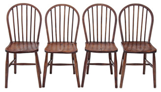 Antique set of 4 Windsor ash elm beech kitchen dining chairs early 20C