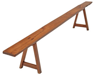 Antique large Victorian 19C fruitwood oak cherry seat hall bench 9' long