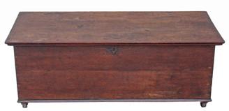 Antique Georgian 19C oak mule chest coffer blanket box coffee table