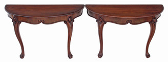 Antique pair of Victorian carved mahogany console tables side