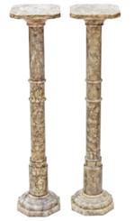 Antique pair of Art Deco early 20C alabaster pedestals stands columns