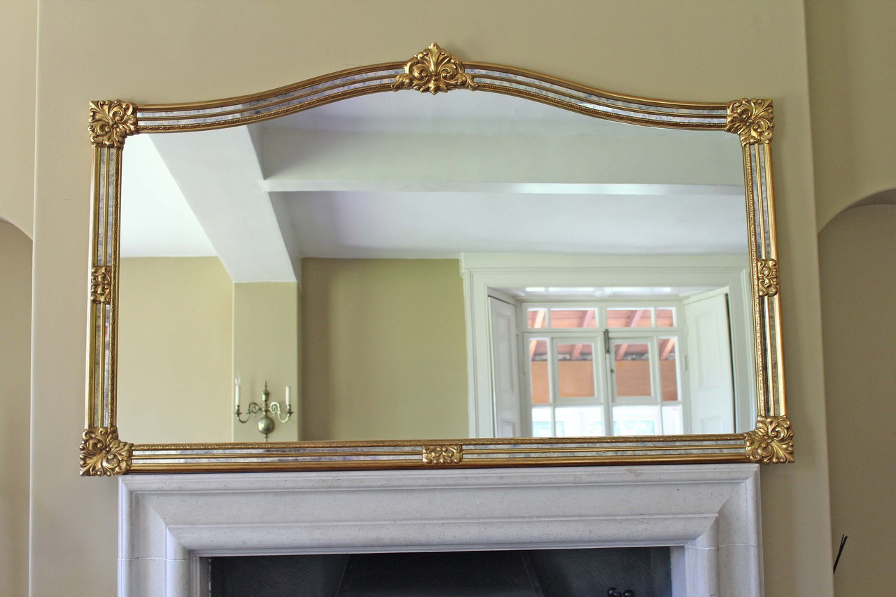 Antique Very Large Gilt Overmantle Wall Mirror 6 Foot