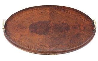 Antique quality Edwardian inlaid burr figured walnut oval serving tray tea
