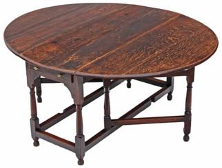 Antique large Georgian oak gateleg drop leaf dining table ~ 5'3 x 4'6
