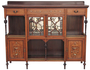 Antique large Maple and Co. inlaid rosewood glazed display cabinet bookcase