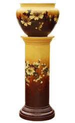 Antique large Victorian 19th C majolica jardiniere pedestal stand column