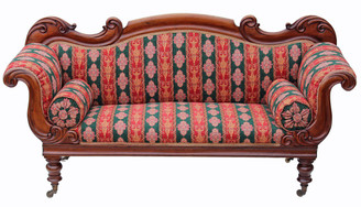 Antique Regency / early Victorian scroll arm sofa chaise longue walnut