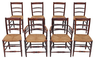 Antique rare quality set of 8 (6+2) 19th Century elm dining chairs kitchen