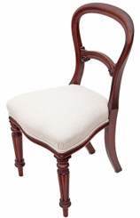 Antique set of 3 Victorian mahogany balloon back dining chairs