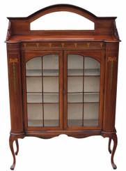 Antique large Edwardian Art Nouveau inlaid mahogany glazed display cabinet