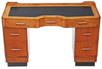 Antique Art Deco walnut leather twin pedestal desk writing dressing table