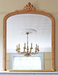 Antique large quality Victorian gilt wall mirror overmantle