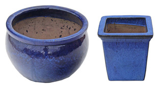 2 antique very large blue enameled terracotta plant pots