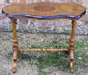 Antique walnut side tea sofa work games writing table