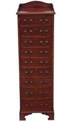 Antique quality tall slim Edwardian mahogany Wellington chest of drawers