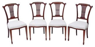 Antique quality set of 4 Edwardian inlaid mahogany dining chairs Harrod's